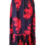 Navy w/ Red Floral Print